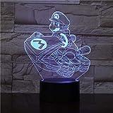 Lámpara de mesilla Bluetooth Lámpara 3D Visual Super Mario Bros Luigi Mario...
