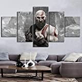 HSART 5 Paneles Lona Pintura Kratos de God of War 4 ARPG Juego Póster Mural...
