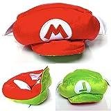 Fantasy Universe Mario Bros Gorro Gorra Peluche Gorra Doble Vista Luigi 2 en 1