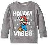 Nintendo Sudadera de Navidad para niños, Vibes/Medium Heather Grey, 12-14