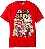 Nintendo Super Mario Groupage Graphic - Playera para niño, Rojo, Youth - Large